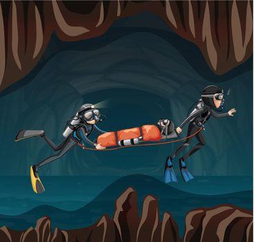 Rescue scene in undergound cave illustration