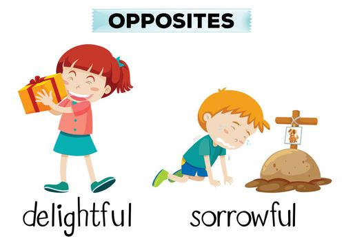 English opposite word of delightful and sorrowful illustration