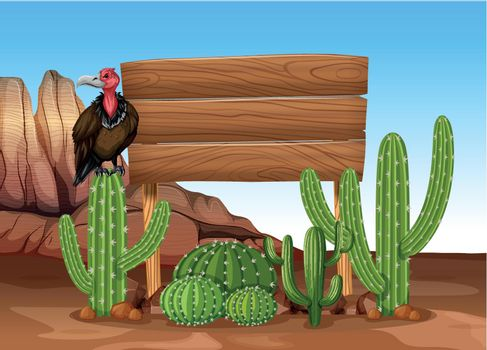 Wooden sign with cactus and vulture illustration