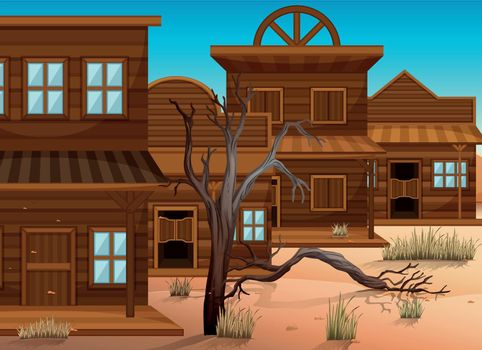 Western styles of buildings in town illustration