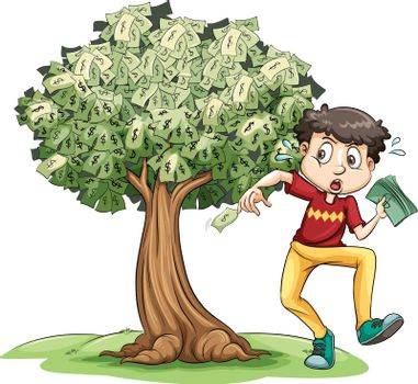 Man holding money and money tree in background illustration