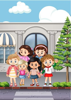 Girls crossing street at zebra crossing illustration