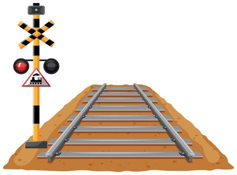Train track and light signal pole illustration