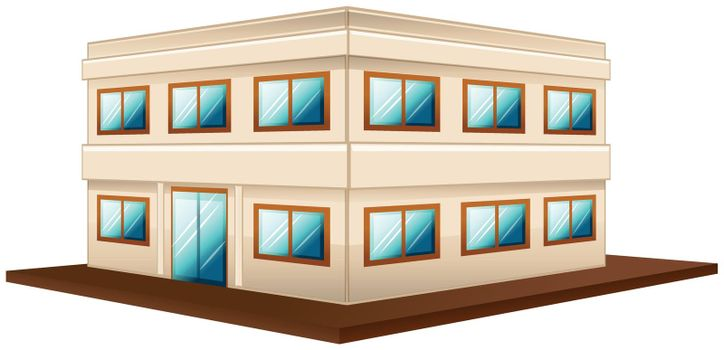 Architecture design for two storey building illustration
