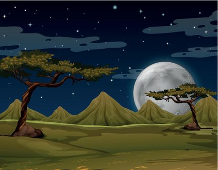 Scene with mountains at night illustration