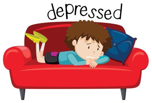 English vocabulary word of depressed illustration
