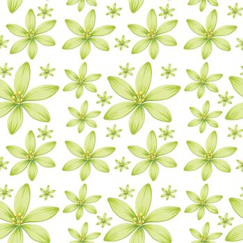 Seamless background design with green flowers illustration