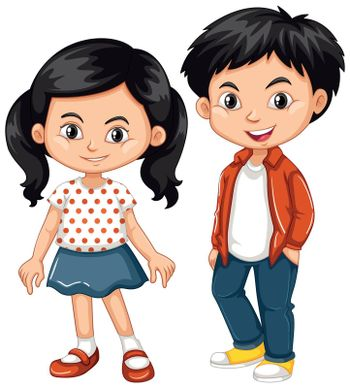 Asian boy and girl standing illustration