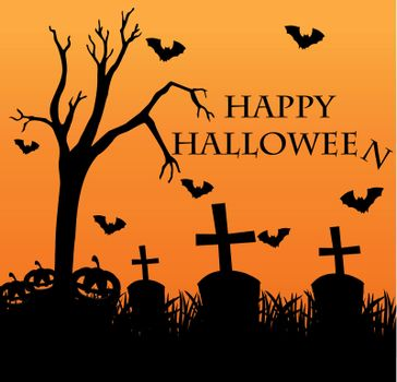 Happy halloween card with graveyard in background illustration