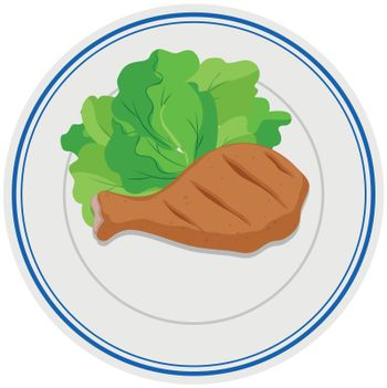 Chicken drum and vegetable on plate illustration