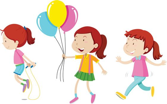 Set of three red hair girls  illustration