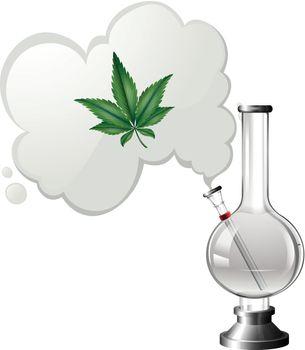 Marijuana Bong on White Background illustration