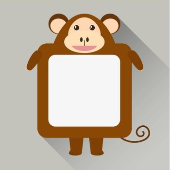 Note template with monkey character illustration
