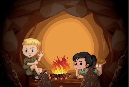Scouts are camping in the cave illustration