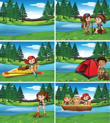 Camping kids in the nature illustration