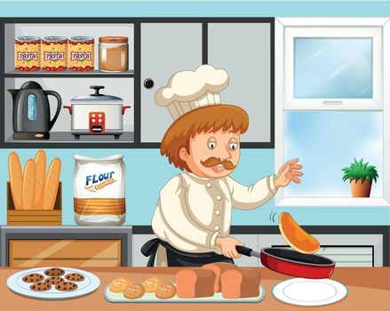 Chef cooking in a kitchen illustration