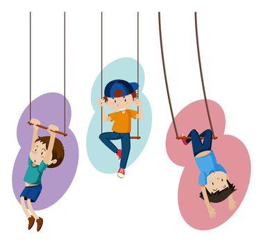 Three kids on hand swings illustration