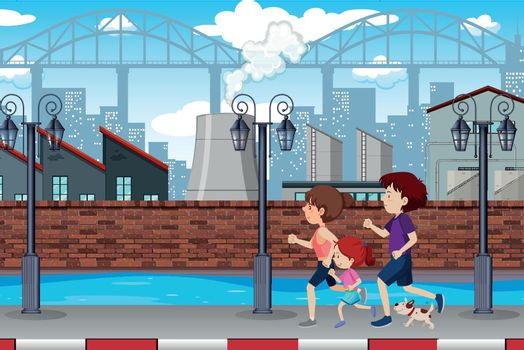 A family jogging in town illustration