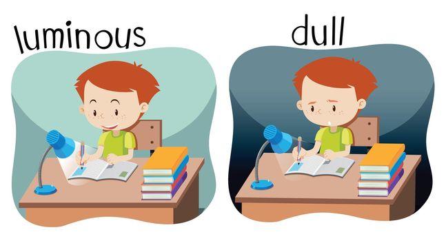 Opposites luminous and dull illustration