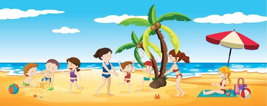 Scene of people having fun at the beach illustration