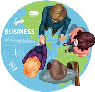 Business people shaking hands  illustration