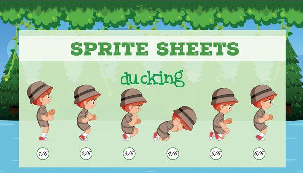 Sprite sheets boy ducking illustration