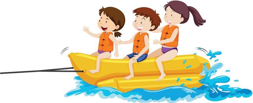 Happy Kids Playing Banana Boat