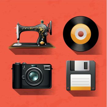 Vintage collections with sewing machine and disks