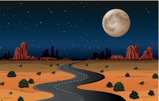 Arizona desert road at night