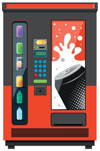 Vending machine with soft drinks