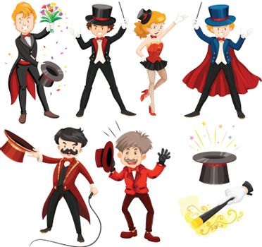 Set of various circus performers