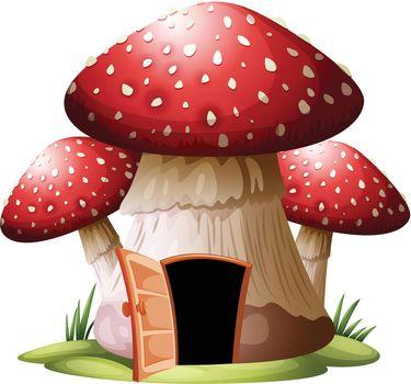 A mushroom house on whiyr background