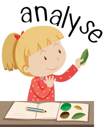 Flashcard for word analyse with girl looking at leaves