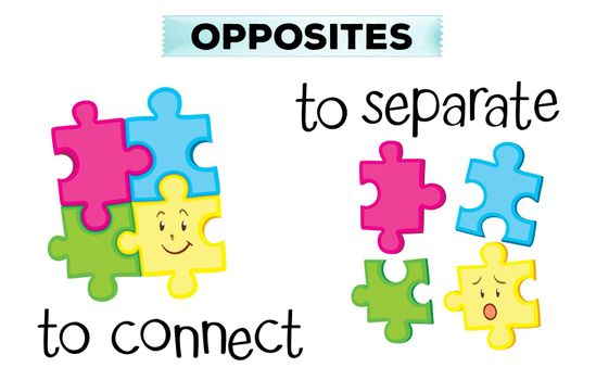 Opposite wordcard with connect and separate