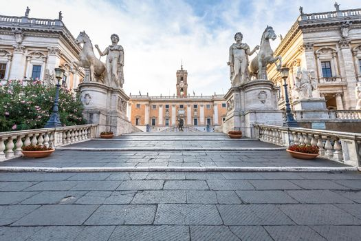 Staircase to Capitolium Square (Piazza del Campidoglio) in Rome, Italy. Made by Michelangelo, it is home of Rome (Roma) City Hall