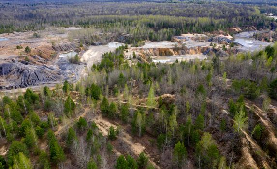 Aerial view of abandoned quarry.