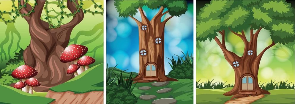 Set of fairy tale tree house