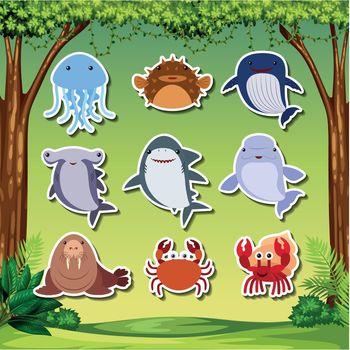 Sea creature sticker character