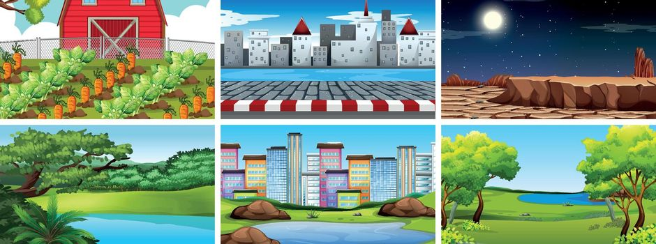 Set of nature scenes including farming, urban, city and deserts