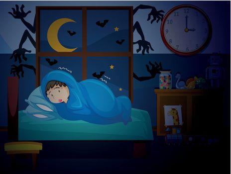A boy having a nightmare