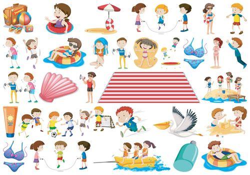 Set of summer children
