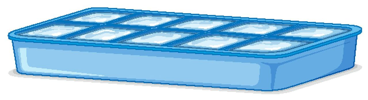 Ice tray filled with ice on white background