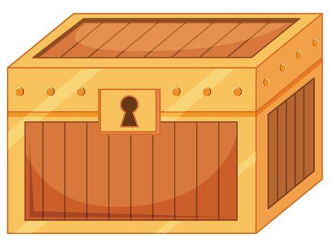 Locked treasure box isolated