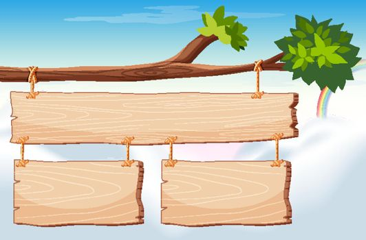 Wooden sign template with sky in background illustration