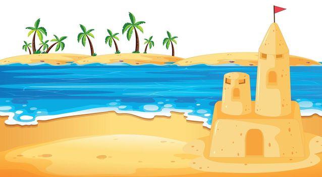 Sandcastle in beach scene illustration