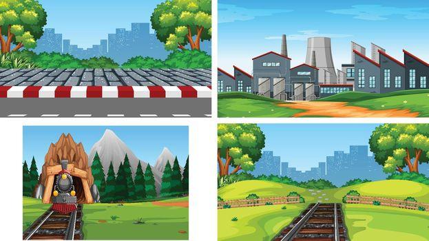 Set of scenes in nature setting illustration