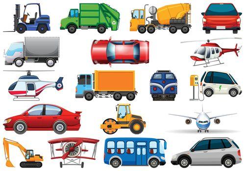 Set of different transport illustration