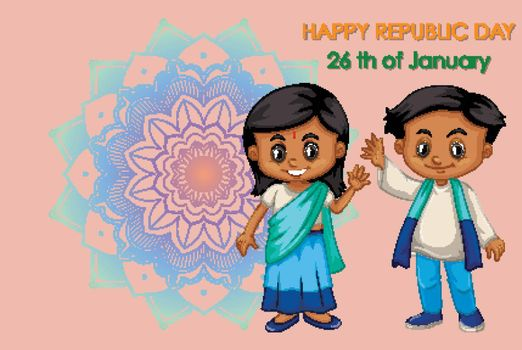 Public holiday poster design with happy kids illustration