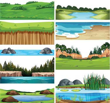Set of nature landscape illustration