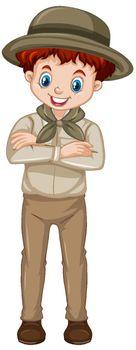 Boy in brown uniform on white background